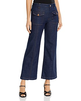 See by Chloé - High-Waisted Wide-Leg Jeans in Royal Navy