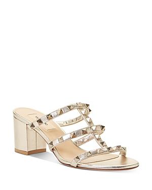 Valentino Garavani Women\\\'s Rockstud Block Heel Slide Sandals