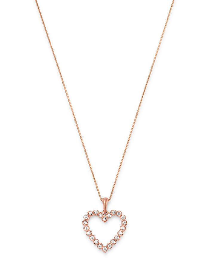 """Bloomingdale's - Diamond Heart Pendant Necklace in 14K Rose Gold, 18"""", 0.25 ct. t.w. - 100% Exclusive"""