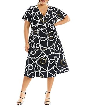 Tied To You Chain Print Wrap Dress