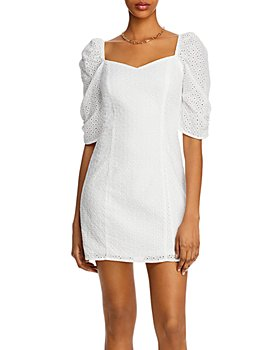 AQUA - Puff-Sleeve Eyelet Mini Dress - 100% Exclusive