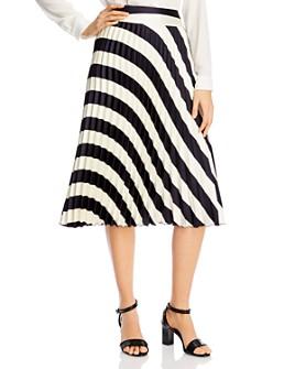 BOSS - Valta Pleated Stripe Midi Skirt