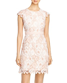KARL LAGERFELD PARIS - Cap-Sleeve Lace Dress