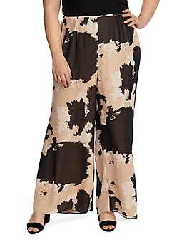 VINCE CAMUTO Plus - Abstract Cowhide Print Wide-Leg Pants