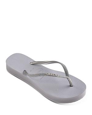 Women's Slim Glitter Thong Platform Sandals