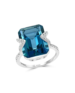 Bloomingdale's London Blue Topaz & Diamond Ring in 14K White Gold - 100% Exclusive
