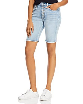 AQUA - Frayed-Hem Button-Fly Bermuda Jean Shorts in Medium Wash - 100% Exclusive