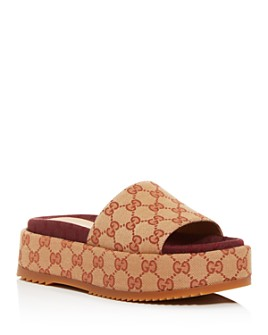 Gucci - Women's GG Canvas Platform Slide Sandals