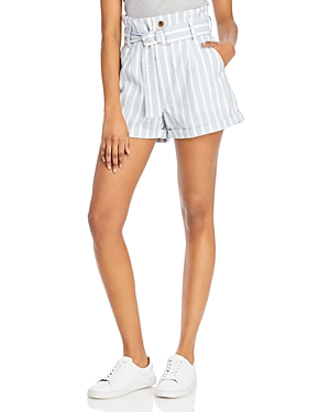 Frame Striped Paperbag-Waist Shorts