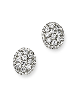 Bloomingdale's Diamond Oval Cluster Stud Earrings in 14K White Gold - 100% Exclusive