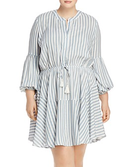 AQUA Curve - Striped Dress with Tassel Waist - 100% Exclusive