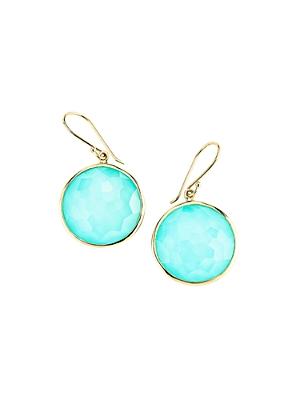 Ippolita 18K Gold Lollipop Turquoise Doublet Drop Earrings
