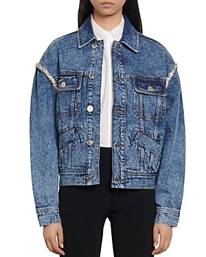 Sandro Snow Embellished Denim Jacket-Women