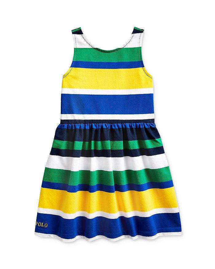 Ralph Lauren POLO RALPH LAUREN GIRLS' COTTON-BLEND STRIPED STRETCH JERSEY DRESS - LITTLE KID