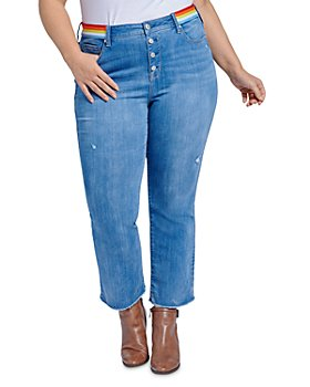 Seven7 Jeans Plus - Lover Striped-Waist Boot Crop Jeans in Prophecy