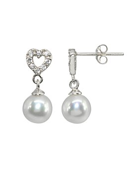 AQUA - Sterling Silver Cultured Freshwater Pearl & Pavé Cubic Zirconia Heart Drop Earrings - 100% Exclusive