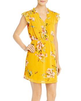 Daniel Rainn - Printed Flutter-Sleeve Dress