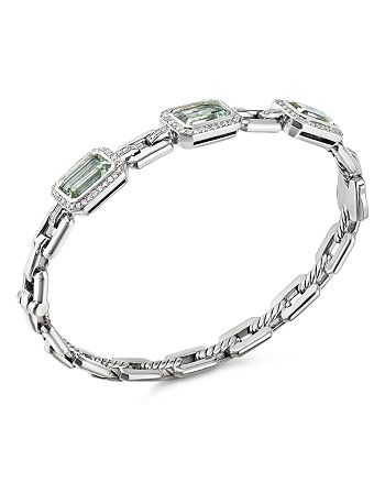David Yurman - Novella Three-Stone Bracelet with Prasiolite and Pavé Diamonds