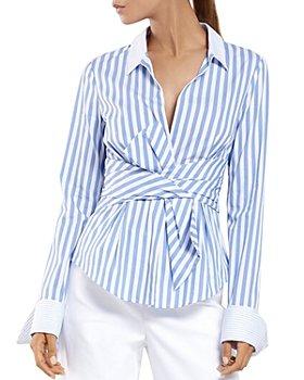 PAULE KA - Striped Cotton-Blend Poplin Tie Blouse