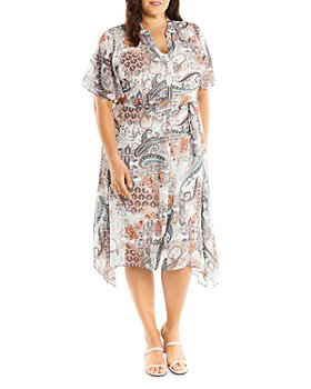 Estelle Plus - Living Printed Fit-and-Flare Shirt Dress