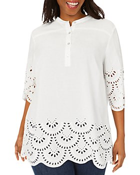 Foxcroft Plus - Bailey Eyelet Embroidered Scalloped Tunic