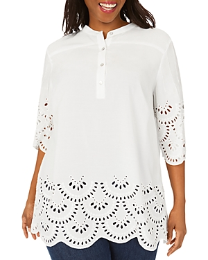 Bailey Eyelet Embroidered Scalloped Tunic