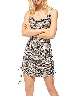 Free People - Printed Drawstring-Side Dress