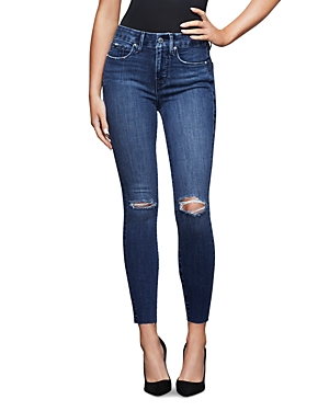 Good American Cropped Raw Hem Jeans in Blue432-Women