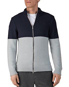 ATM Anthony Thomas Melillo - Cotton-Blend Color-Blocked Regular Fit Full-Zip Cardigan