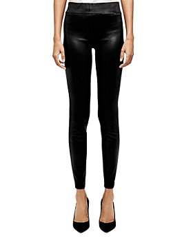 L'AGENCE - Rochelle High-Rise Coated Pull-On Jeans in Black Coated