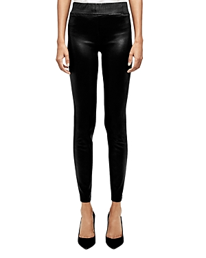 L\\\'Agence Rochelle High-Rise Coated Pull-On Jeans in Black Coated