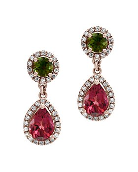 Bloomingdale's - Multicolor Tourmaline & Diamond Drop Earrings in 14K Rose Gold - 100% Exclusive