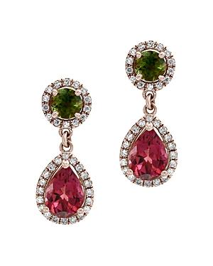 Bloomingdale's Multicolor Tourmaline & Diamond Drop Earrings in 14K Rose Gold - 100% Exclusive