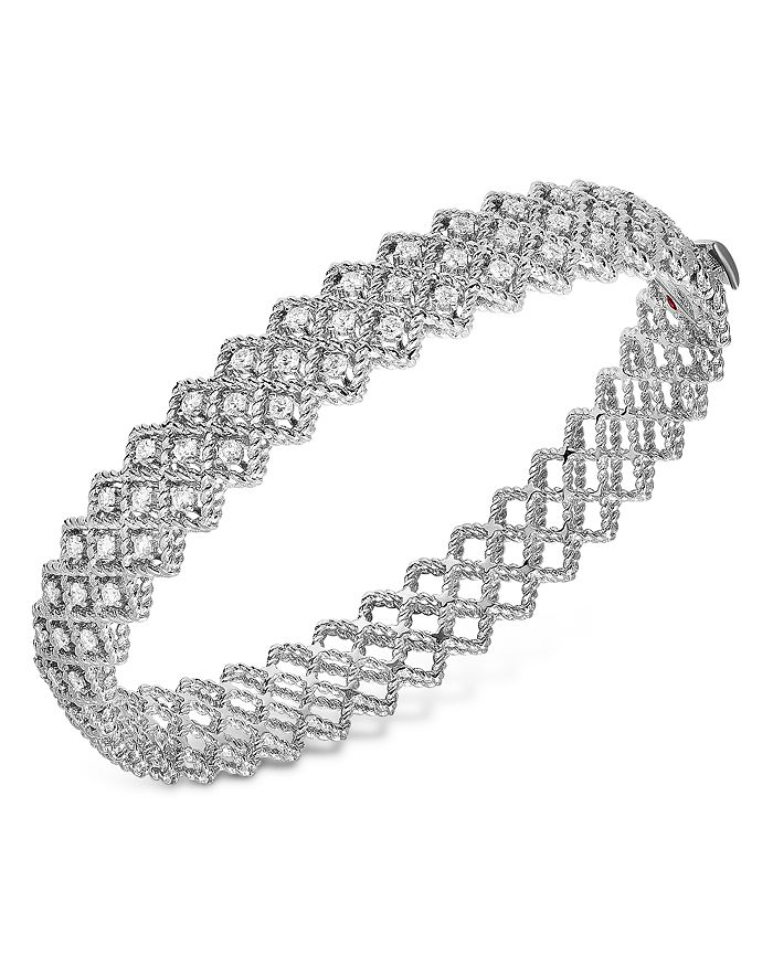 Roberto Coin - 18K White Gold Roman Barocco Diamond Mesh Bangle Bracelet