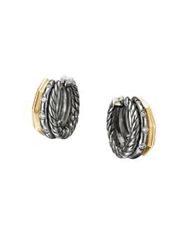 David Yurman - Stax Huggie Hoop Earrings in Blackened Silver with Diamonds