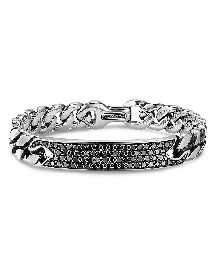 David Yurman - Curb Chain ID Bracelet with Pavé Black Diamonds