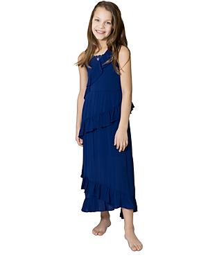 Us Angels Girls' Sleeveless Ruffled Maxi Dress - Big Kid