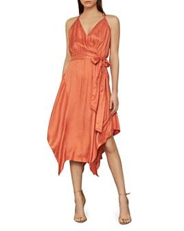 BCBGMAXAZRIA - Dotted Satin Wrap Dress