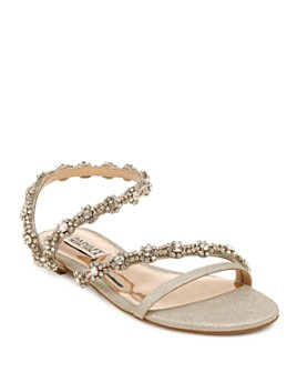 Badgley Mischka - Women's Zia Crystal Embellished Glitter Slide Sandals