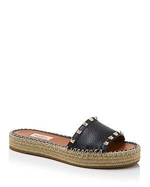 Valentino Garavani Women\\\'s Rockstud Double Espadrille Platform Slide Sandals