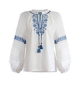 BCBGMAXAZRIA - Embroidered Peasant Blouse