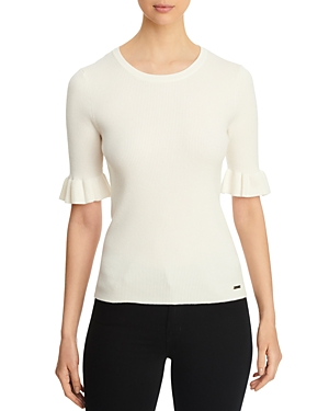 T Tahari Ruffled Elbow-Sleeve Ribbed Top