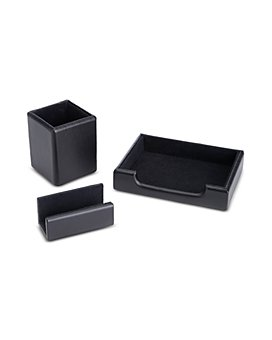 ROYCE New York - 3 Pc. Suede Lined Executive Desk Accessory Set