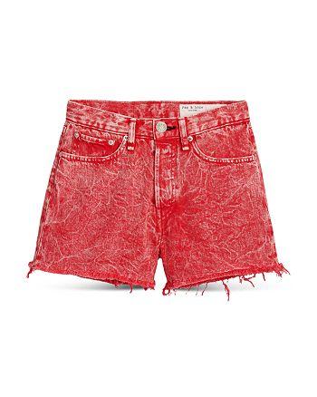 rag & bone - Maya Cotton High Rise Denim Shorts in Marbled Red