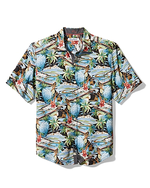 Tommy Bahama Men\\\'s Hawaiian Print Classic Fit Button Down Camp Shirt-Men