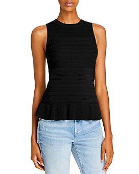 AQUA - Texture Striped Sleeveless Knit Top - 100% Exclusive