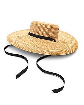 AQUA - Wide Straw Boater Hat