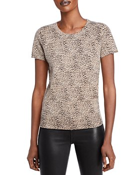 C by Bloomingdale's - Leopard Print Short Sleeve Cashmere Sweater - 100% Exclusive