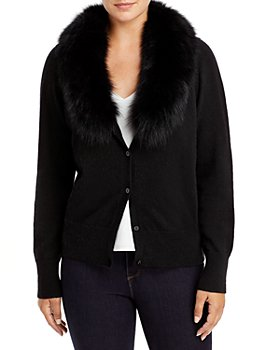 C by Bloomingdale's - Fox Fur Collar Cashmere Cardigan - 100% Exclusive