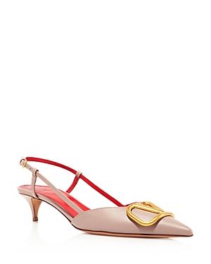 Valentino Garavani Women\\\'s V Logo Slingback Kitten Heel Pumps